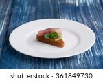 fish burger on white plate on... | Shutterstock . vector #361849730