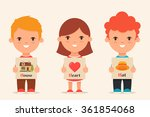 cute cartoon kids holding... | Shutterstock .eps vector #361854068