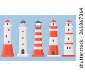 vector light house icons... | Shutterstock .eps vector #361867364