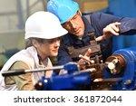metal worker teaching trainee...   Shutterstock . vector #361872044