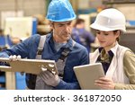 metallurgy workers in workshop... | Shutterstock . vector #361872050