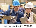 metallurgy workers in workshop... | Shutterstock . vector #361872050