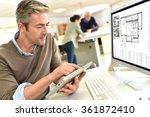 engineer working in design...   Shutterstock . vector #361872410