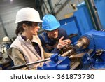 metal worker teaching trainee... | Shutterstock . vector #361873730