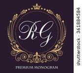 vintage vector monogram. the...   Shutterstock .eps vector #361884584