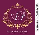 vintage vector monogram. the... | Shutterstock .eps vector #361884590