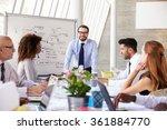 caucasian businessman leading...   Shutterstock . vector #361884770