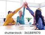cheerful business team doing... | Shutterstock . vector #361889870