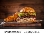 home made hamburger with... | Shutterstock . vector #361890518