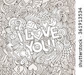 love hand lettering and doodles ... | Shutterstock .eps vector #361913534