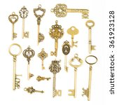 Small photo of Multiple vintage key with isolated with white background.