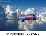 Southwest plane in flight - stock photo