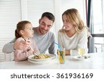 happy family having dinner at... | Shutterstock . vector #361936169