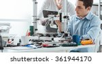 engineering students using an... | Shutterstock . vector #361944170