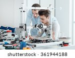 young students researchers... | Shutterstock . vector #361944188