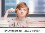 elementary school boy at... | Shutterstock . vector #361945484