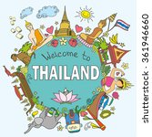 welcome to thailand . set thai ... | Shutterstock .eps vector #361946660