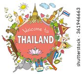welcome to thailand . set thai ... | Shutterstock .eps vector #361946663