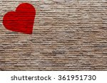 Red Heart Shaped On Brick Wall...