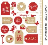set of valentines day gift tags ... | Shutterstock .eps vector #361972934