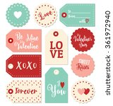 set of valentines day gift tags ... | Shutterstock .eps vector #361972940