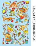 school in color  hand drawn... | Shutterstock .eps vector #36197494