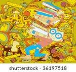 Retro School Background (hand drawn vector sketch) - stock vector