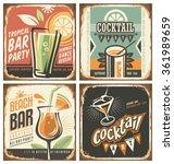 cocktail bar retro tin sign set.... | Shutterstock .eps vector #361989659