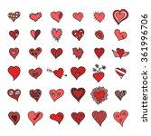 vector set of hand drawn hearts ... | Shutterstock .eps vector #361996706