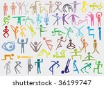 Colorful People Set (hand drawn) - stock vector