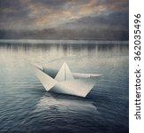 origami paper sailboat in... | Shutterstock . vector #362035496