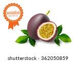 volumetric passion fruit set... | Shutterstock .eps vector #362050859