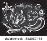 hand drawn set of vegetables  ... | Shutterstock .eps vector #362057498