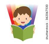 little boy reading a book with... | Shutterstock .eps vector #362067530