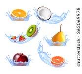 fruits in splashing water. set...   Shutterstock .eps vector #362069978