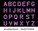 glowing pink neon alphabet... | Shutterstock .eps vector #362074304
