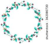 watercolor floral wreath ... | Shutterstock . vector #362080730