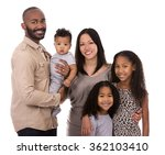 casual young mixed family on... | Shutterstock . vector #362103410