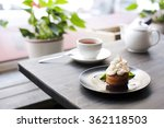 breakfast time . tea and cake... | Shutterstock . vector #362118503