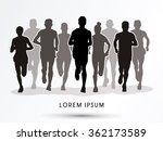 Marathon Runners  Crowd Of...