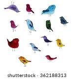 set of cute birds  hand drawn... | Shutterstock . vector #362188313