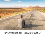 young man enjoying in monument... | Shutterstock . vector #362191250