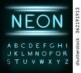 neon light alphabet font. neon...   Shutterstock .eps vector #362191913