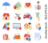 insurance icons set with house... | Shutterstock .eps vector #362194133