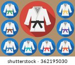 karate suit icon with long...