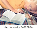 an attractive sleeping with a... | Shutterstock . vector #36220054