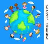 happy children around the world ... | Shutterstock .eps vector #362201498