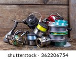 fishing reels and spoole with... | Shutterstock . vector #362206754