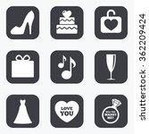 wedding  engagement icons. cake ... | Shutterstock .eps vector #362209424