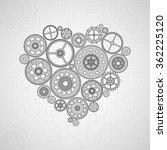 cogwheel background with heart | Shutterstock .eps vector #362225120